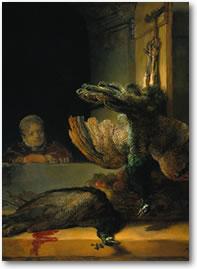 Detail uit: Stilleven met pauwen
